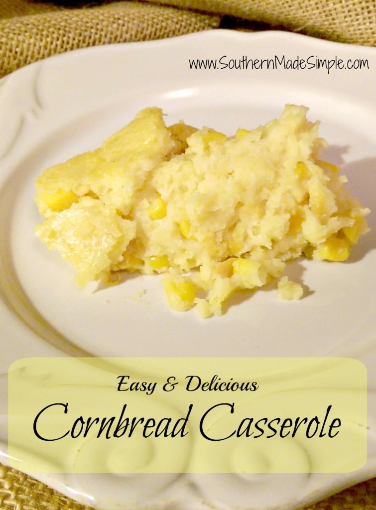 This is a MUST have on the dinner table during Thanksgiving! Simple Cornbread Casserole - made with Greek yogurt