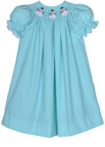 Hand-Smocked-Snowman-Turquoise-_-White-Pin-Dots-Girl_s-Bishop-Dress
