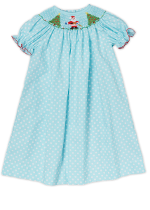 Hand_Smocked_Santa_and_Christmas_Trees_Aqua_White_Pokadots_Girl_s_Bishop_Dress