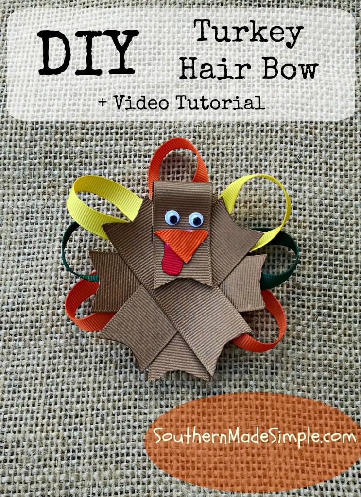 DIY TurkeyHair Bow Ribbon Sculpture + Video Tutorial. This is a GREAT thrifty project to get you ready for Thanksgiving!