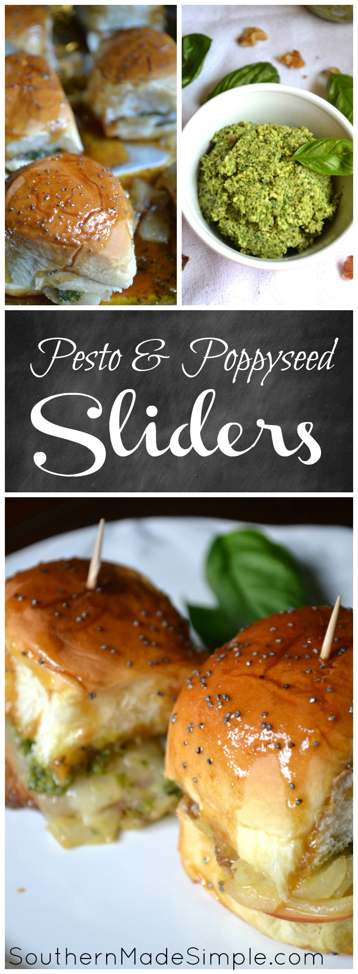 Turkey Pesto Sliders with brown sugar + poppy seed glaze