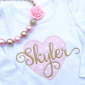 Gentry's Closet: Girls' Customized Pink and Gold Valentine Heart Shirt. Valentine's Day shirt with personalized name.