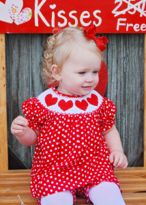 Hand Smocked Hearts Red Polkadots Two Piece Bloomer Set from This and That Kids