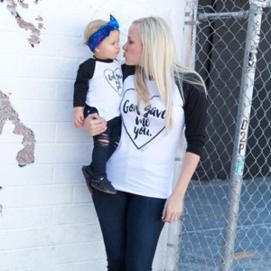 """God Gave Me You"" - How much more perfect can this tee be for a Mommy & Me set!? Professionally screen printed with love in long lasting black ink on a super soft, poly-cotton black and white American Apparel raglan tee. Women's tees are UNISEX sizes so please size down for a closer fit."