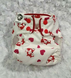 The Albino Squirel -Valentine Cloth Diaper - Foxes and Hearts - Cover or Pocket Diaper - One-Size or Newborn, S, M, L