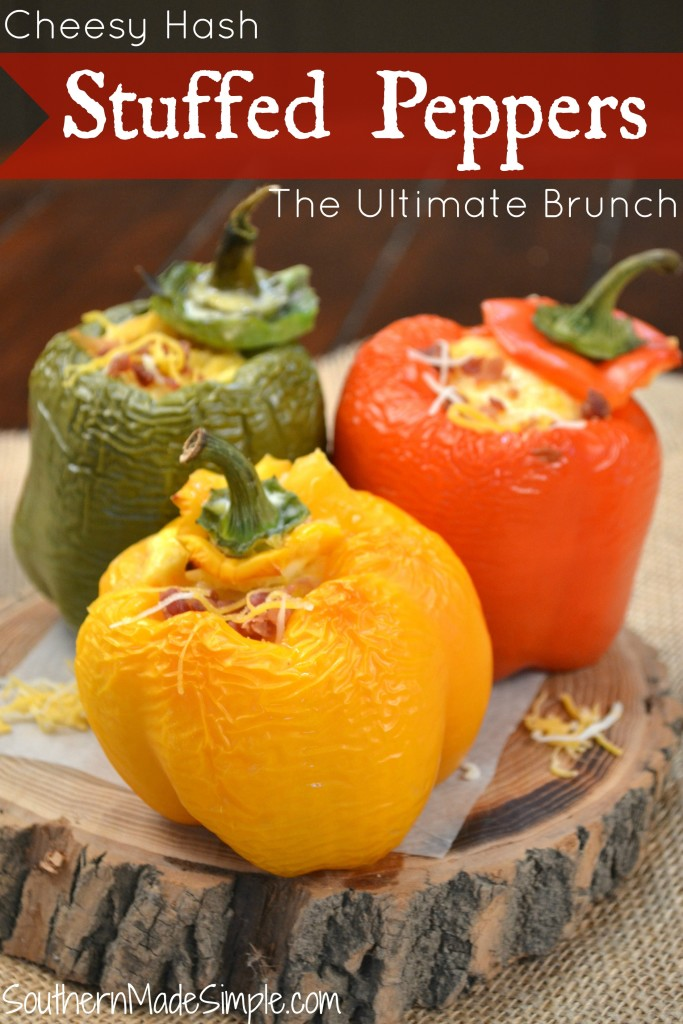 Cheesy Hash Stuffed Peppers - The Ultimate Brunch Recipe using Corned Beef Hash #HowDoYouHash #ad