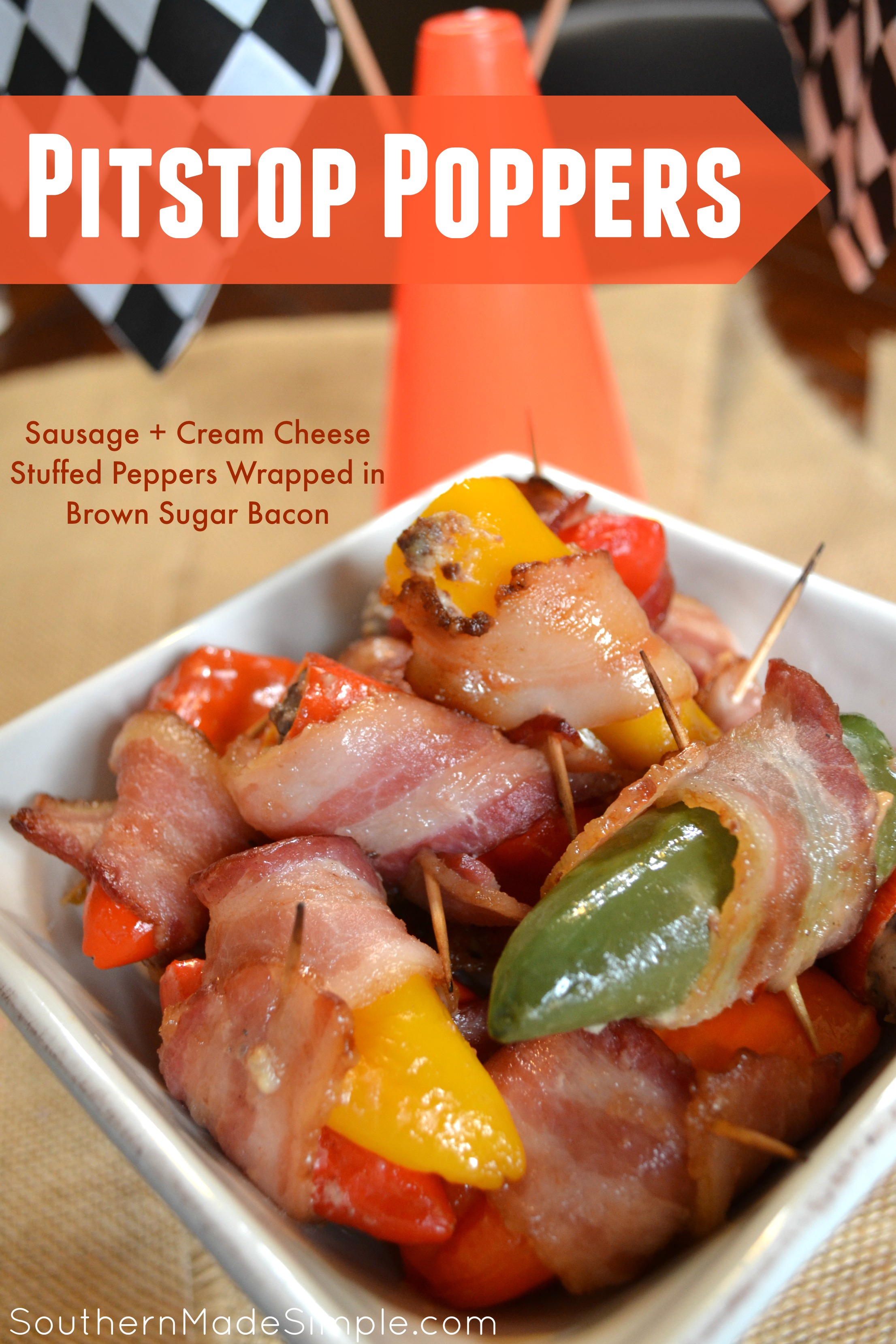 {PIitstop Pepper Poppers} Rev up your engines with Nexium and kick up the heat on race day with these delicious Pitstop Poppers! These jalapenos and sweet peppers are stuffed with a sausage and cream cheese mixture and beautifully wrapped in bacon coated with brown sugar. Mmmm! #RaceDayRelief #AD
