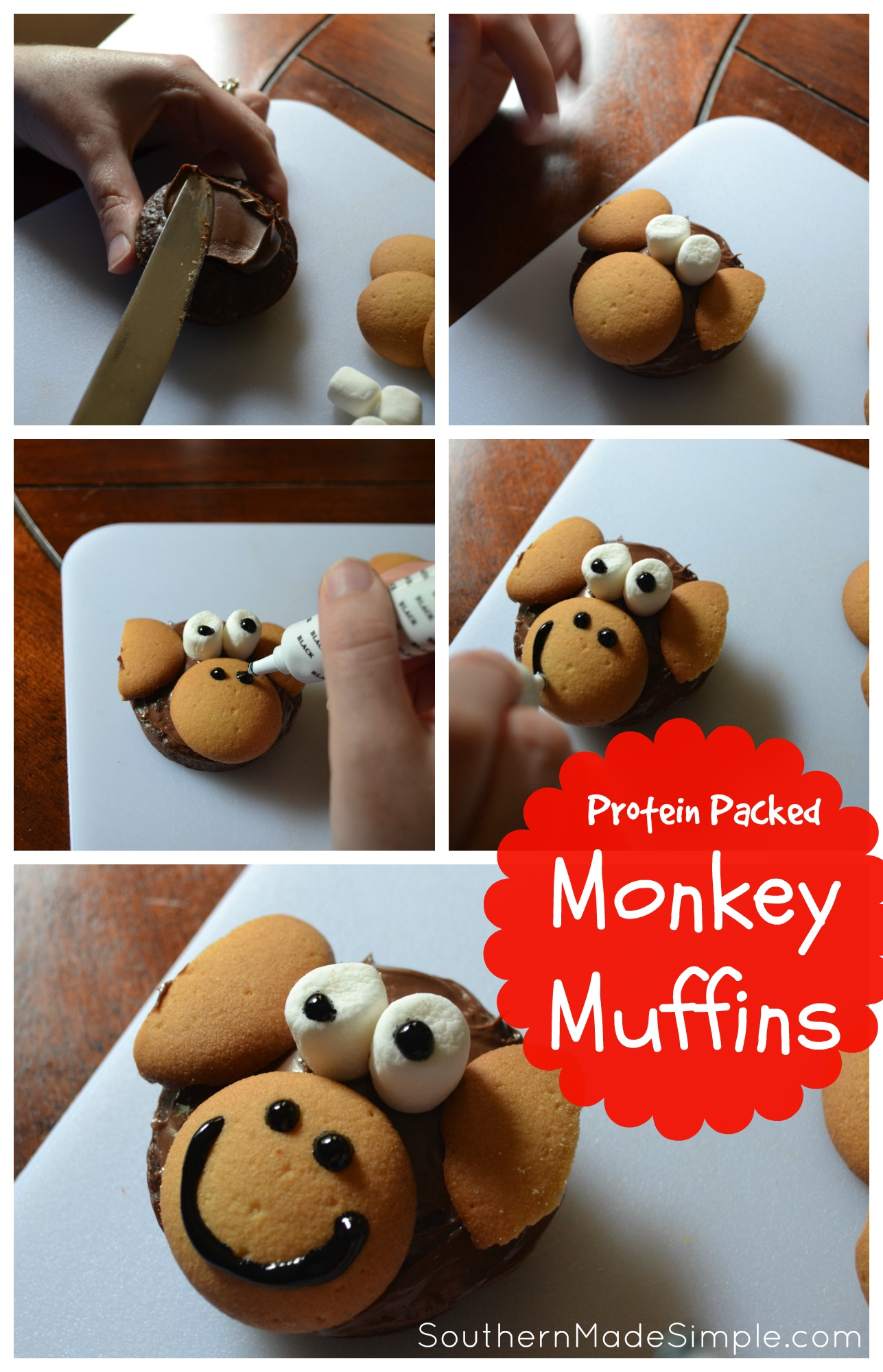 Protein Packed Monkey Muffins - The perfect toddler snack! Chocolate, banana and quinoa muffins with a special hidden ingredients to really pack in the nutrients! #NutritionInTheMix #Walmart #ad