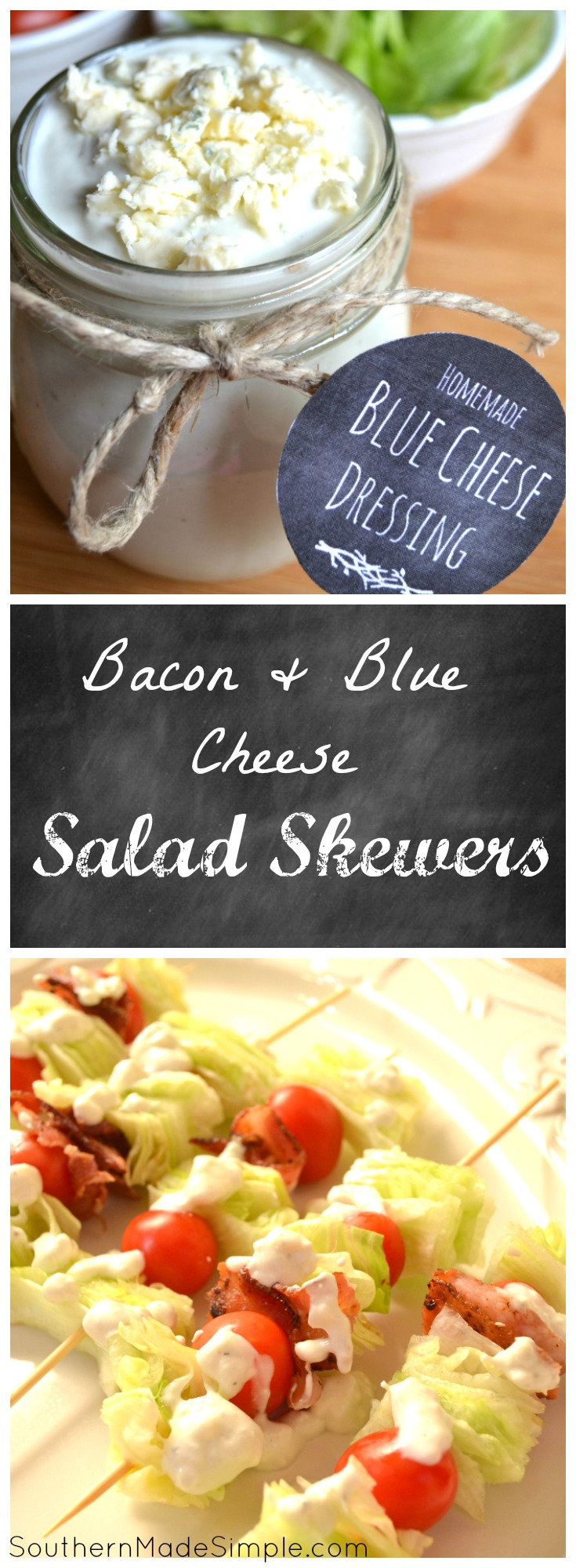 Bacon & Blue Cheese Salad Skewers - the perfect quick and easy way to serve something fresh and delicious on nights where there's little time to prepare supper! #FreschEats #ad