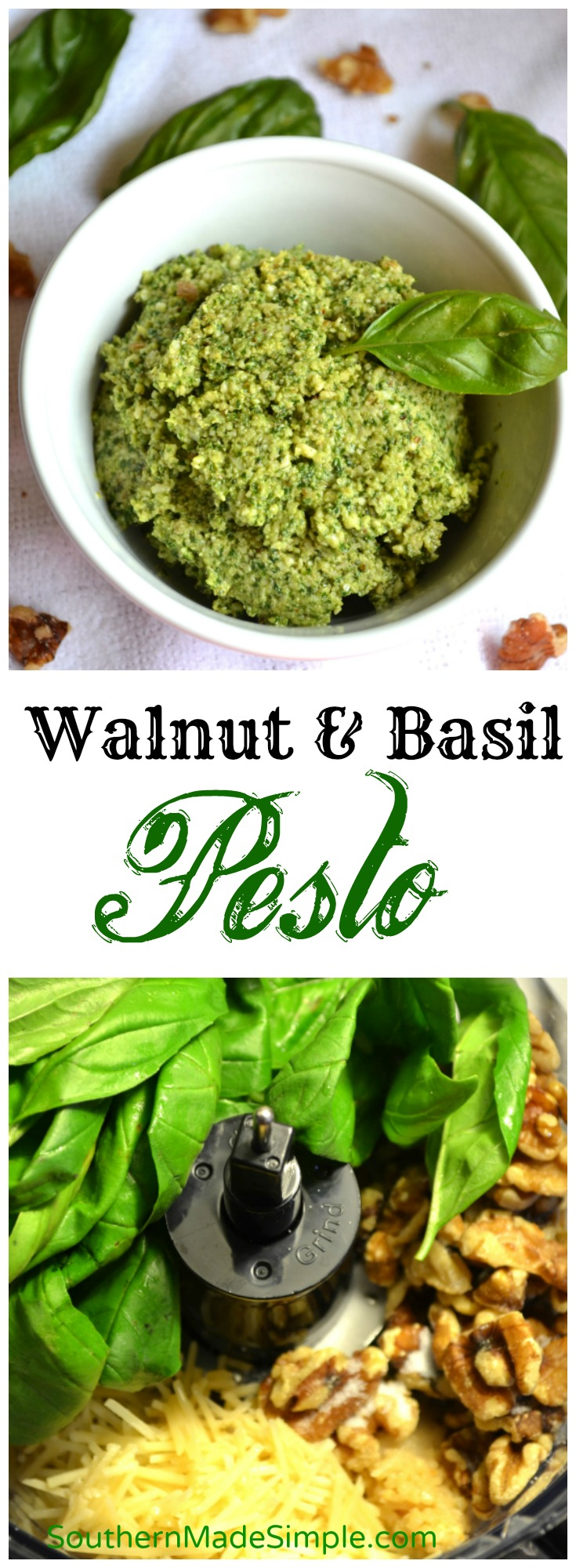 Walnut Basil Pesto - fresh pesto picked straight from the garden blended with olive oil, shredded Parmesan and finely chopped walnuts