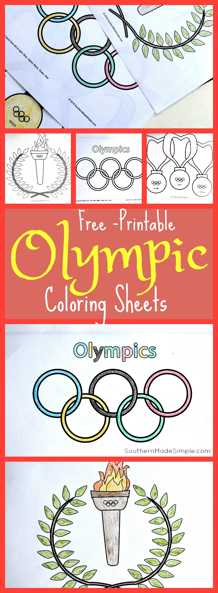 3 Free Printable Olympic Coloring Sheets + 4 Ways to Celebrate the Olympics with Kids