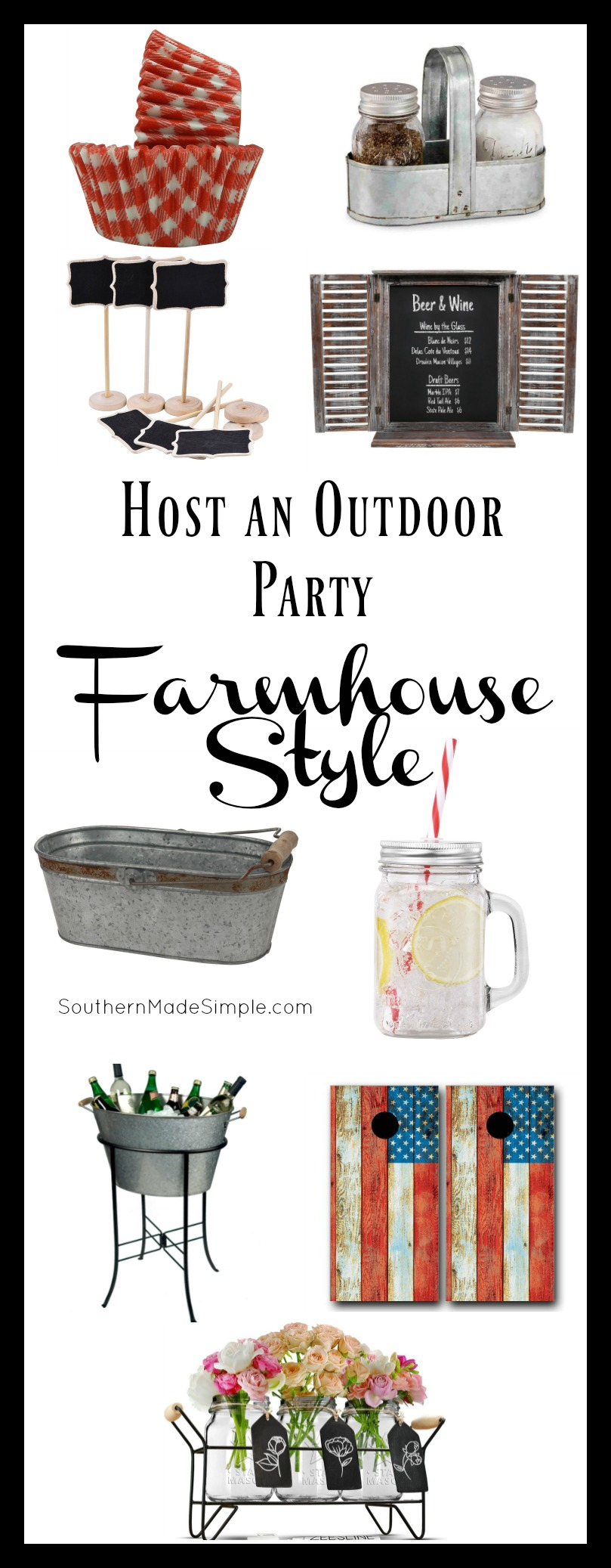Host an Outdoor Party - Farmhouse Style! Put together the cutest outdoor party with a shabby-chic flair - and all from Amazon!