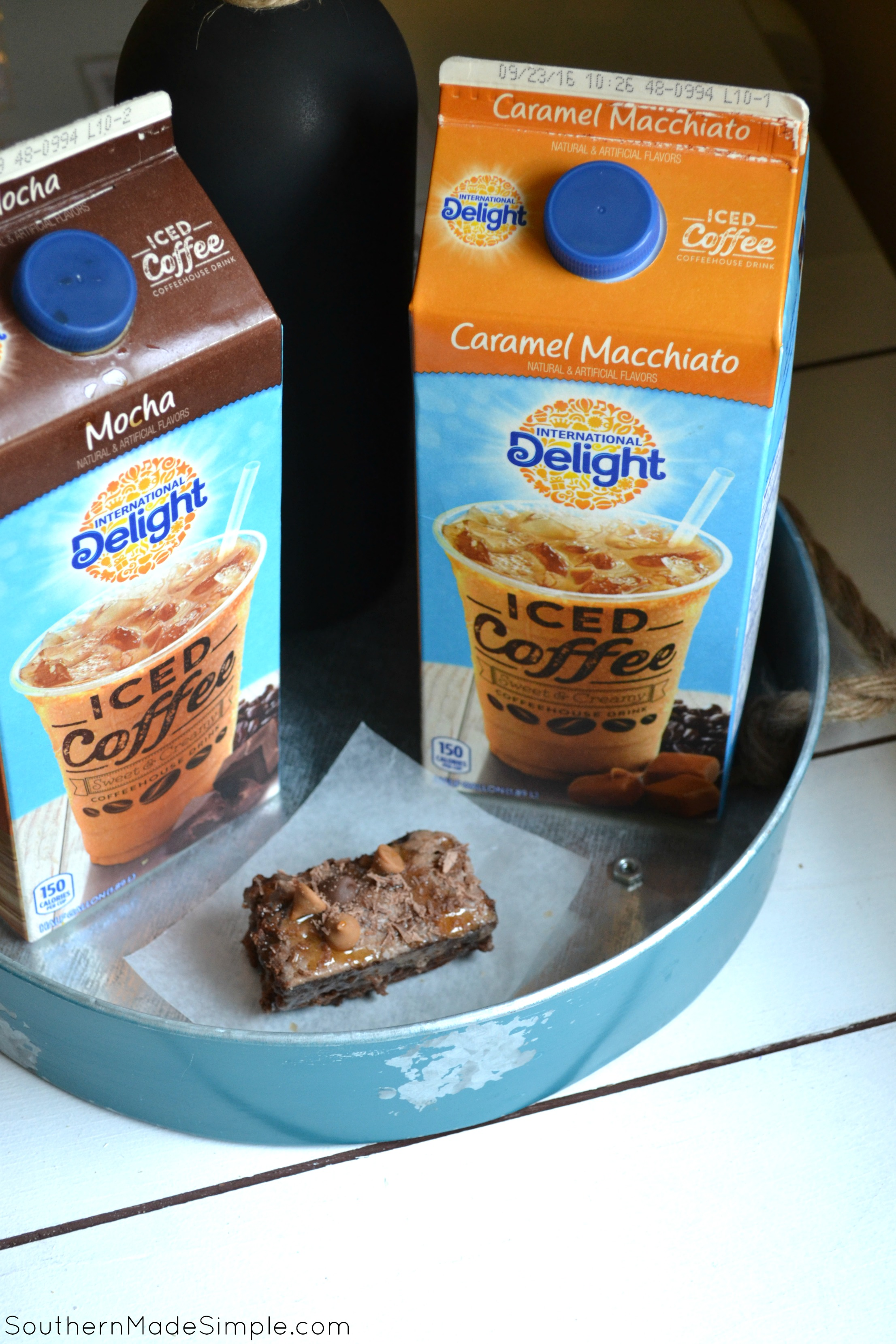 Mocha Fudge Brownies with Creamed Coffee and Caramel Drizzle - these little squares of Heaven are to die for! And I didn't even have to go to a specialty coffee shop to get them! #FoundMyDelight #ad