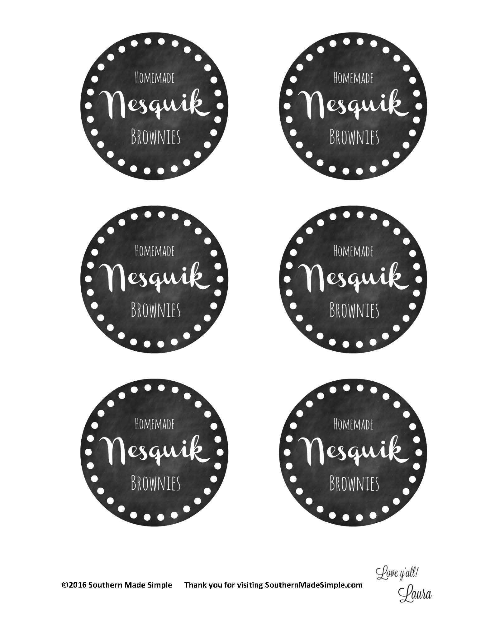 Nesquik Brownies Printable