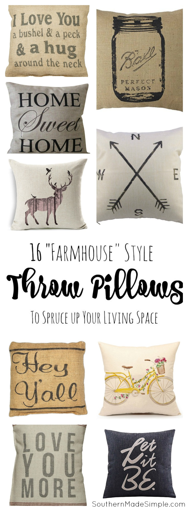 16 Farmhouse Style Throw Pillows to Spruce up your living space - all available on Amazon!