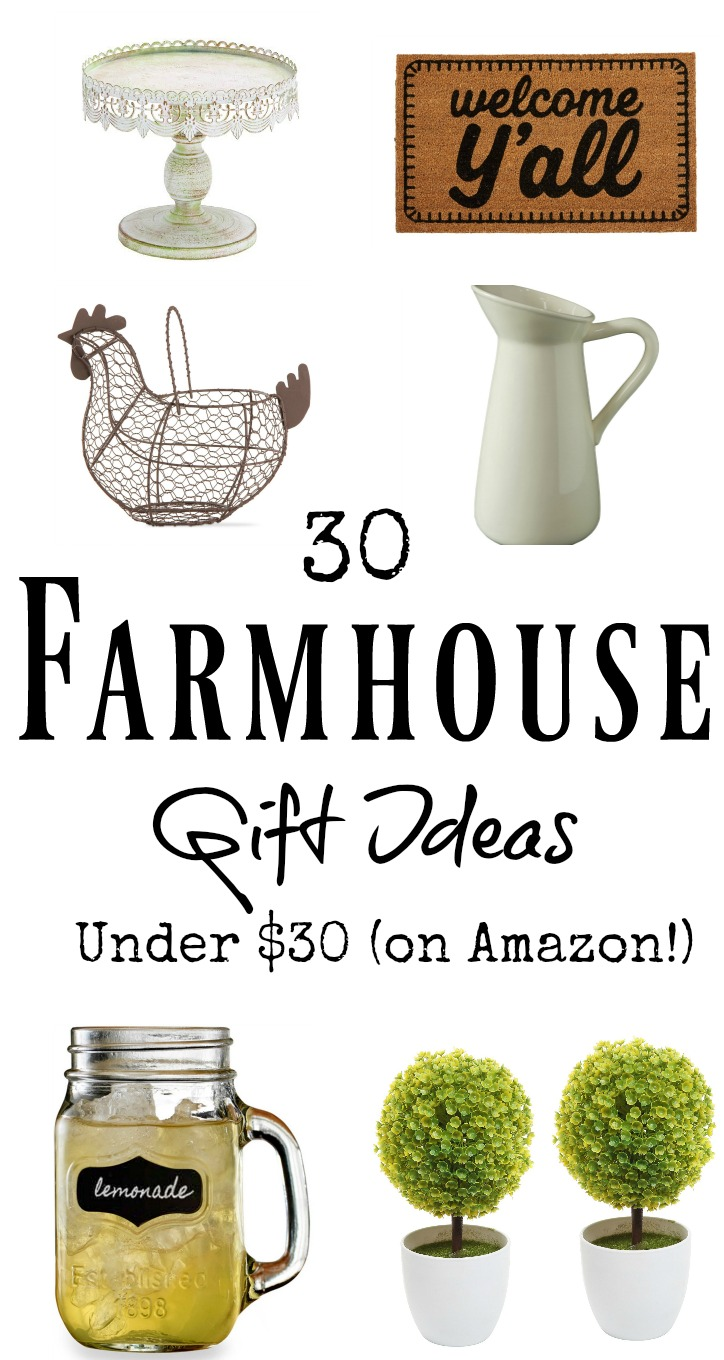 30 Farmhouse Gift Ideas for under $30 on Amazon! These make PERFECT birthday or Christmas gifts for the farmhouse lover!