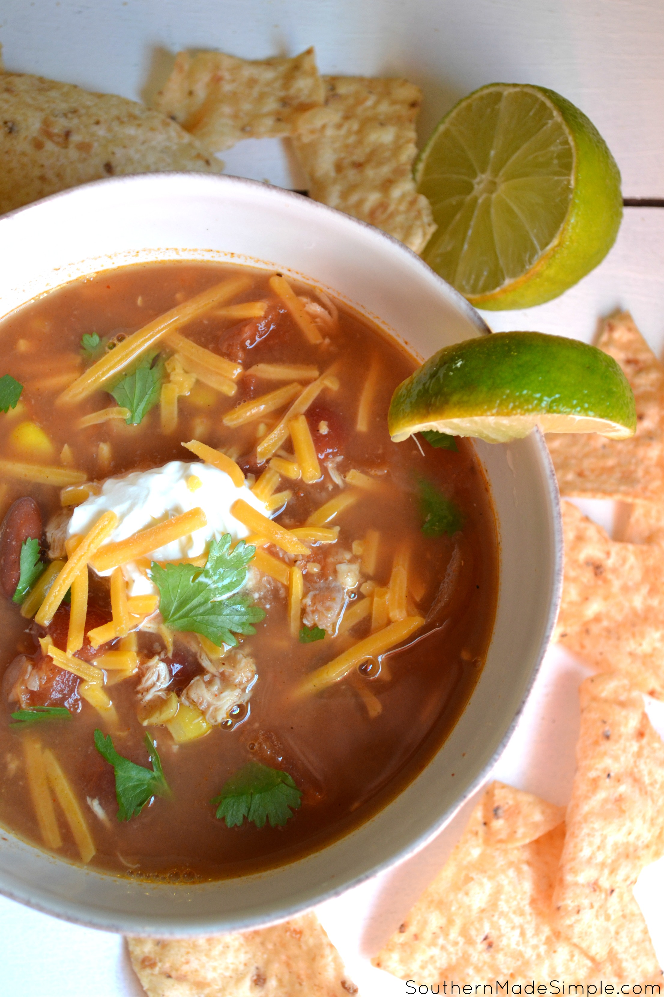 Slow Cooker Chicken Taco Soup - a simple recipe that's perfect for a winter time meal!