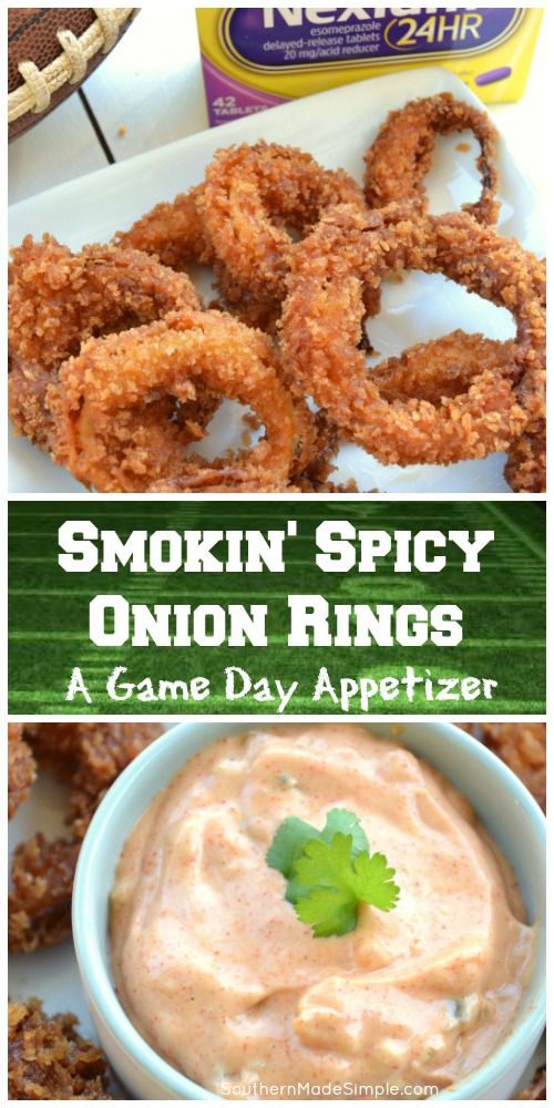 Looking for a winning game day snack that's going to pack a punch and bring the heat? These Smokin' Spicy Onion Rings with a homemade sweet heat dipping sauce are a total game changer, and the perfect way to spice up your game day! #Tailgreatness #ad