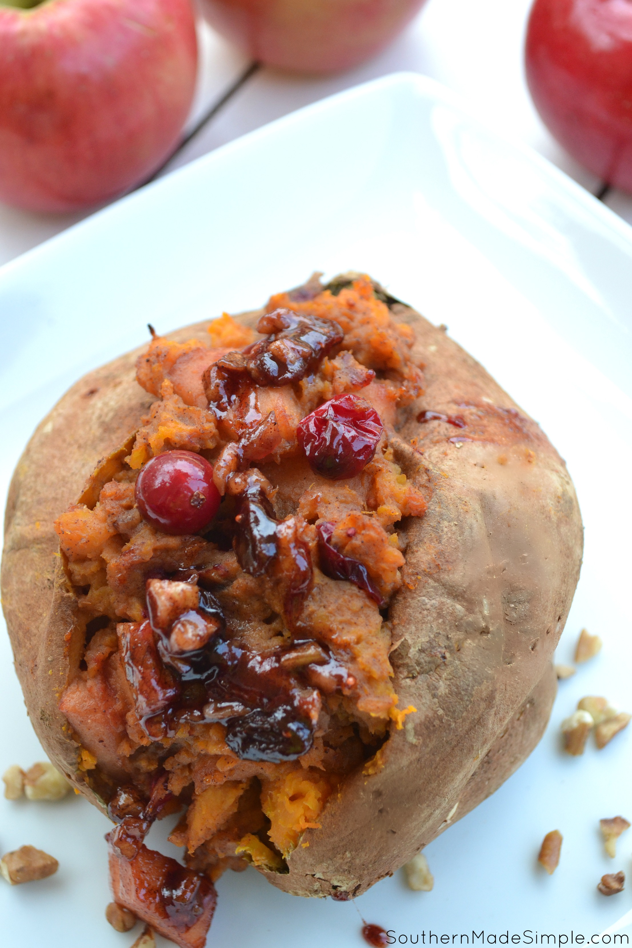 Brown Sugar Pecan Cinnamon Apple Stuffed Sweet Potatoes