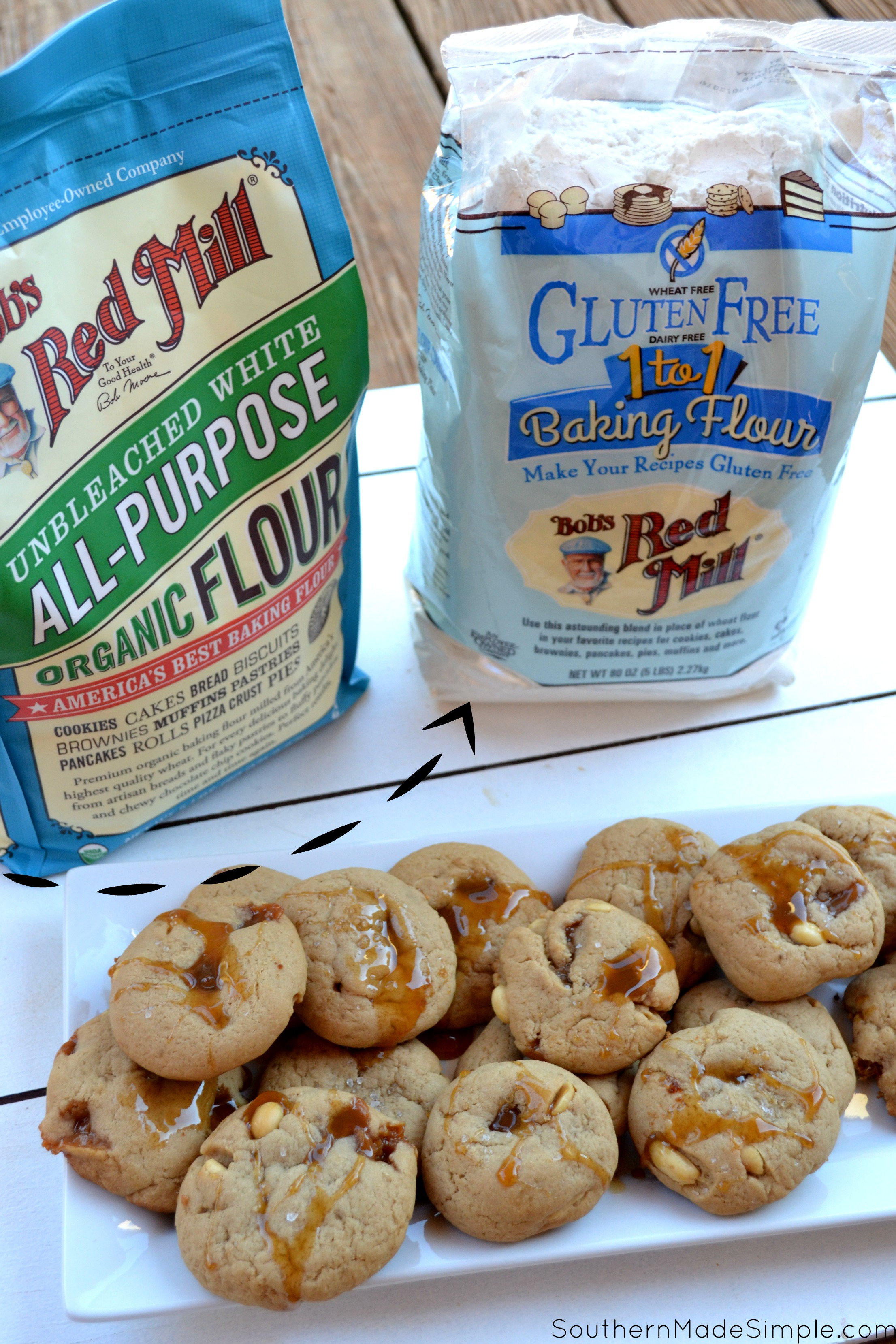 Salted Caramel Peanut Butter Cookies - Do you have a favorite food that ALWAYS makes you think of home? As an Alabama native, peanuts are king. These Salted Caramel Peanut Butter cookies represent this beautiful state so well, and they're absolutely delicious! #50StatesofCookies @bobsredmill