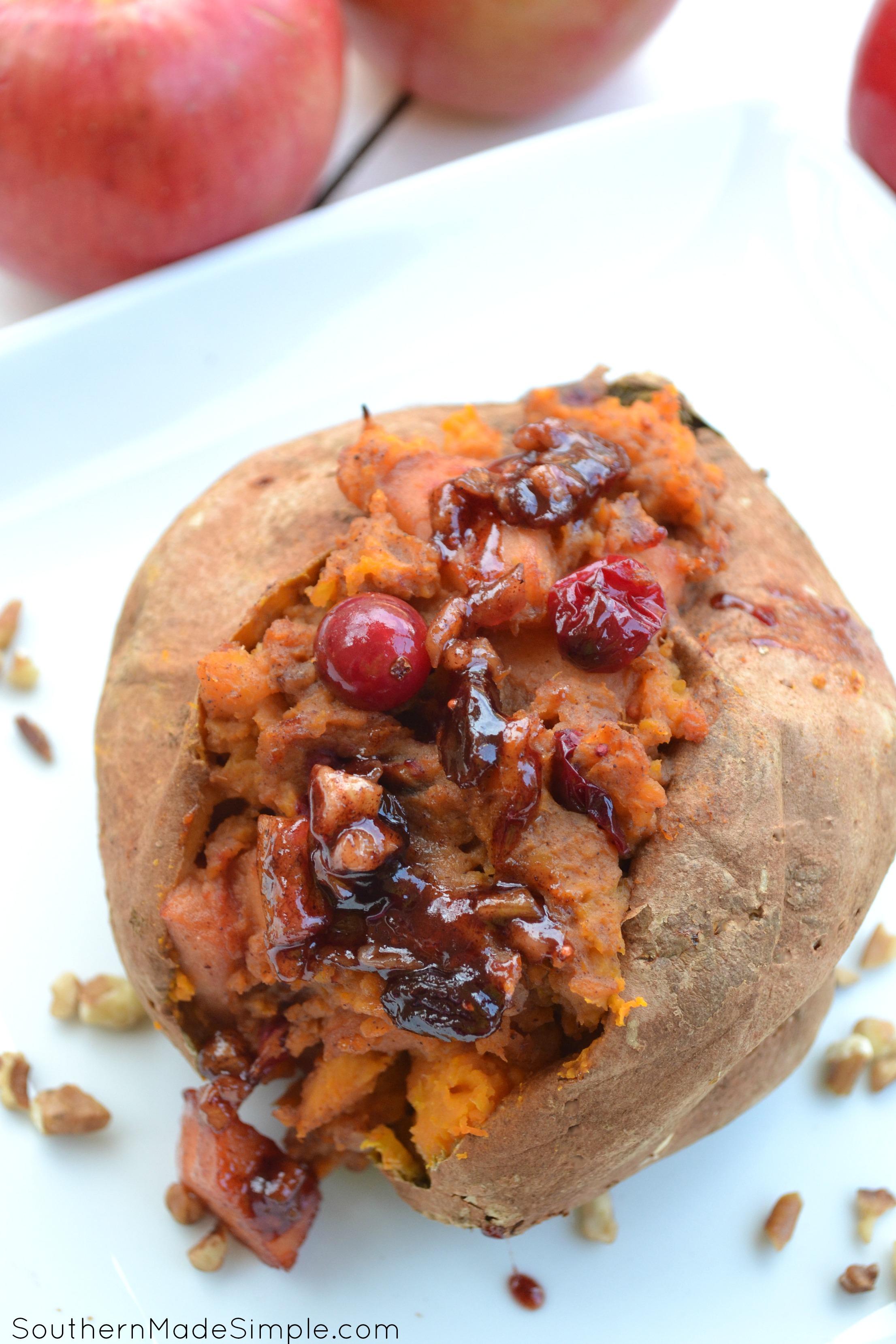 Brown Sugar Pecan and Cinnamon Apple Stuffed Sweet Potatoes