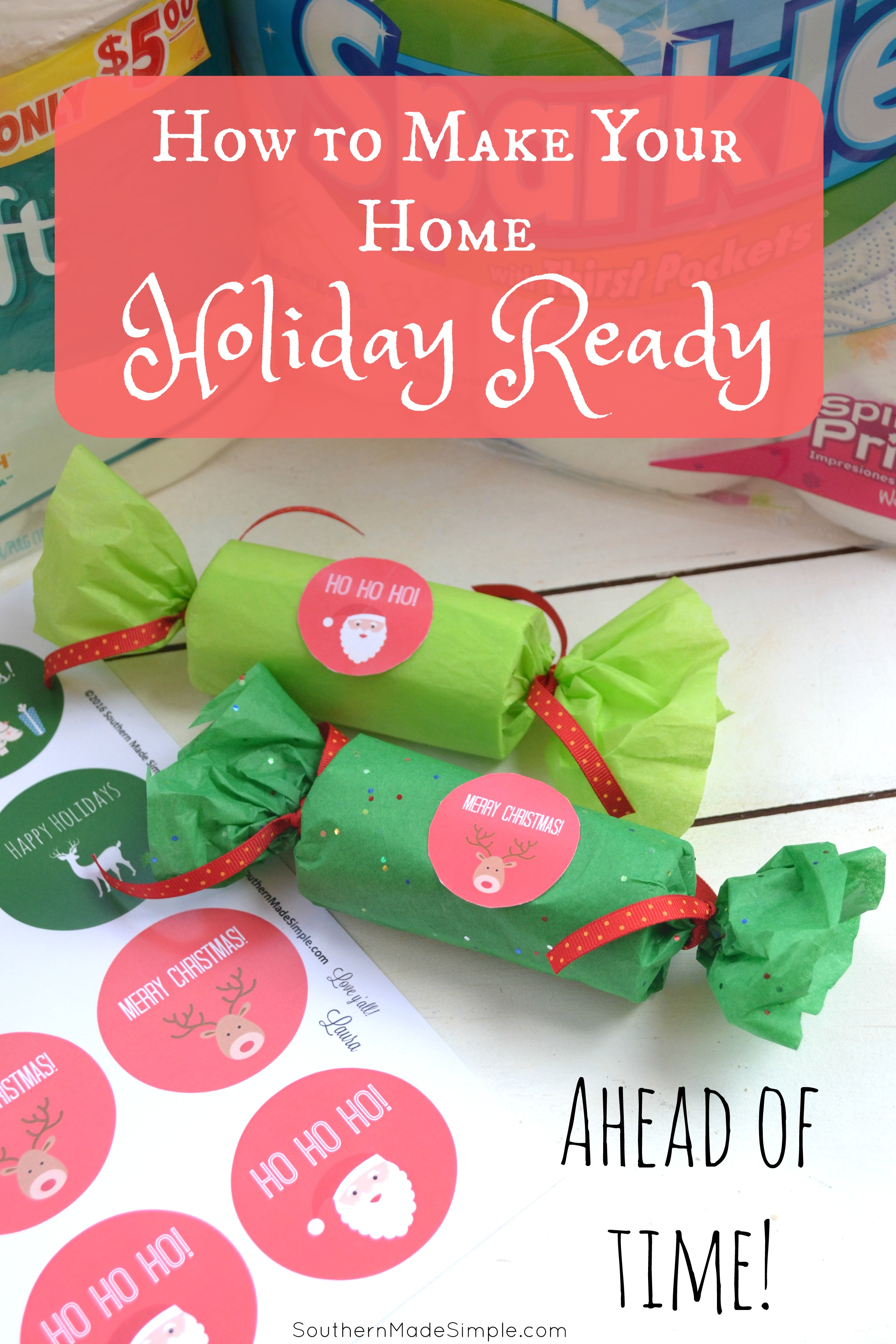Are you expecting company over during this busy holiday season? I've got 3 tips to help you get your home holiday ready AHEAD of time so you're not left scrambling to get it all done before guests show up at your door! Plus, I've got a quick and easy little tutorial on how to turn an unexpected item into an adorable little gift holder! #CelebrateClean AD
