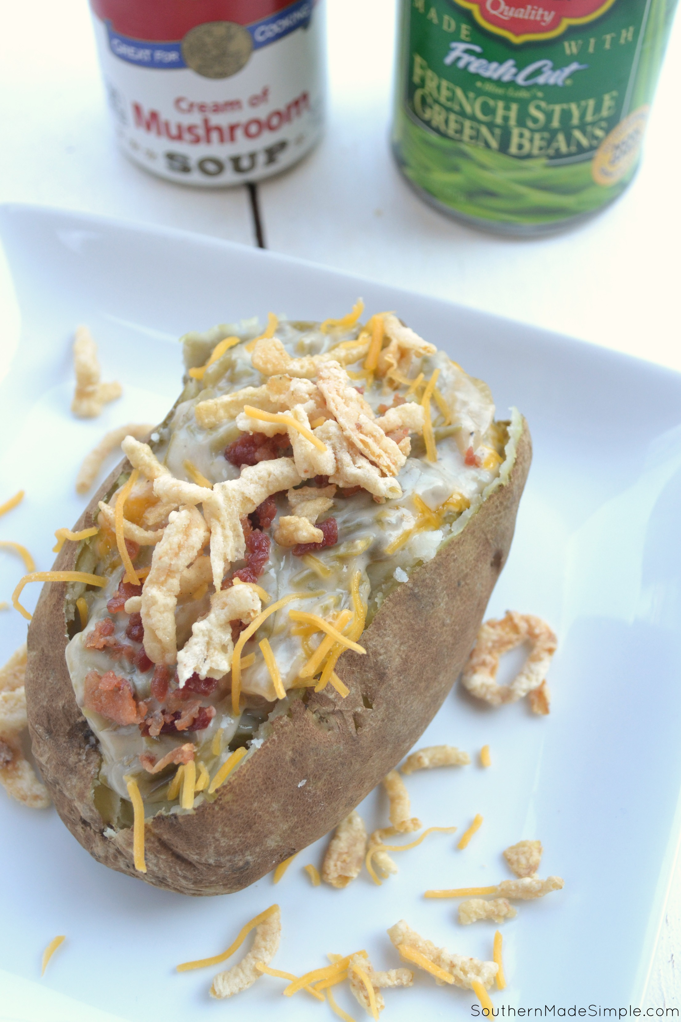Forget everything you know about traditional green bean casserole - this Green Bean Casserole Stuffed Loaded Baked Potato is THE way to fill you and your friends up on Thanksgiving!#GiveThanksBeFull #ad @Target