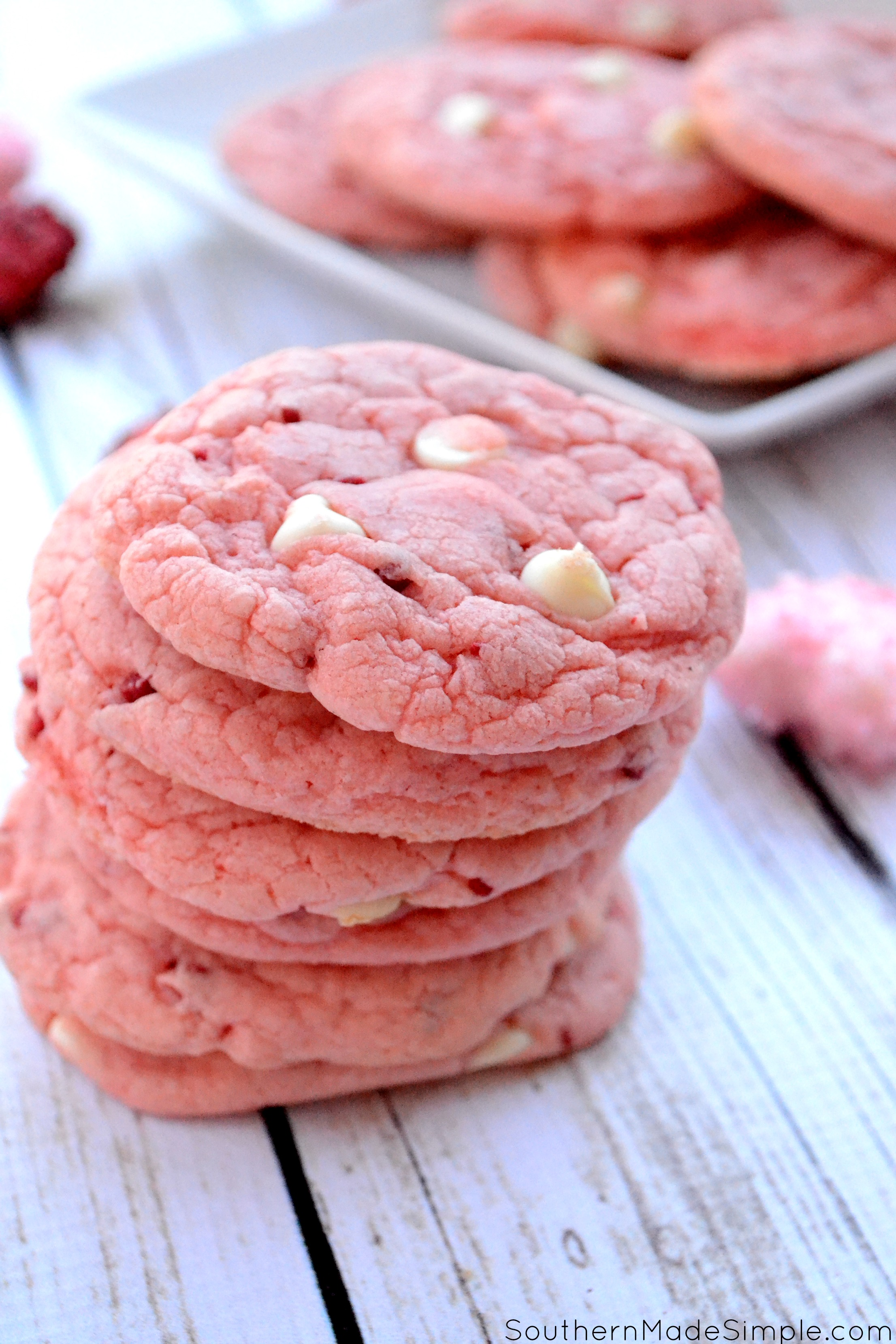 Strawberry Milkshake Cookies - These easy strawberry and white chocolate chip cookies taste just like a smooth strawberry shake, and are perfect for Valentine's Day!