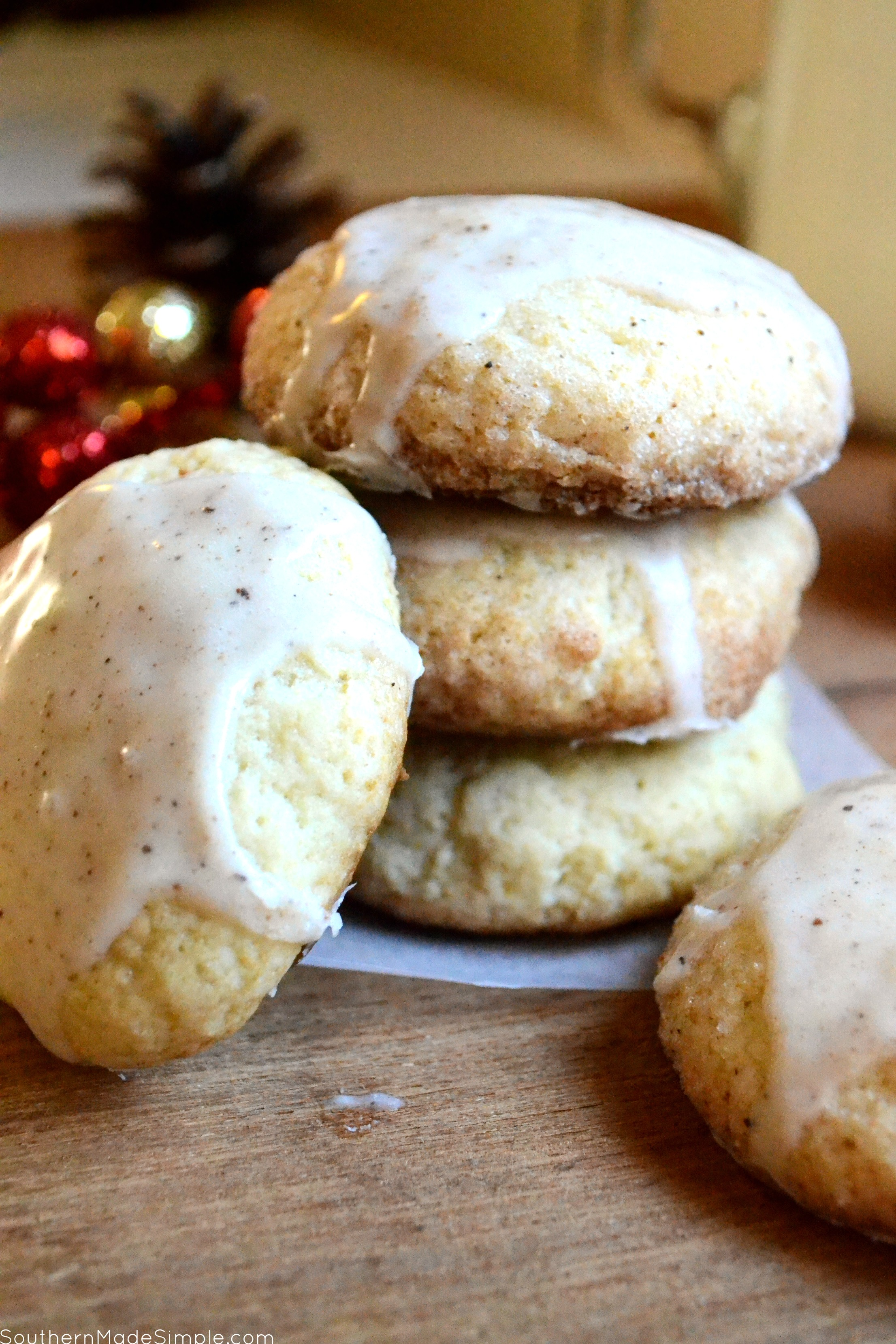 Eggnog Cookies with Creamy Spiced Glaze
