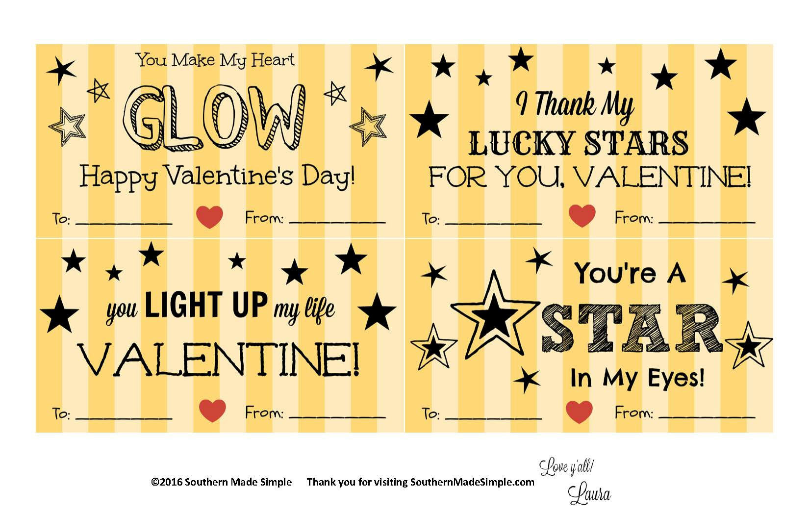 Free Printable Glow in the Dark Stars Valentines