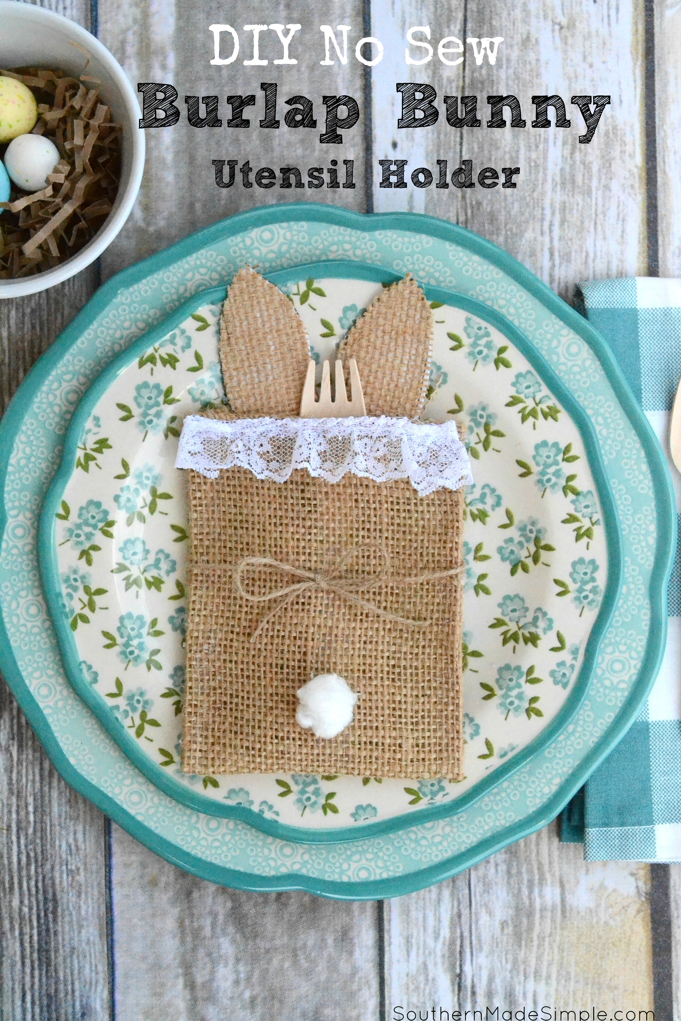 This simple DIY no sew bunny utensil holder is the perfect thing to spruce up your spring tablescape! #SweetenYourSpring #ad