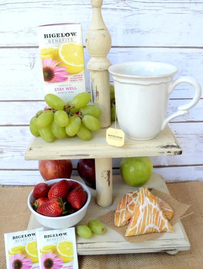 {DIY Tiered Fruit Stand} Life is short: Do things that make you happy! Tackle that craft project, eat your favorite foods, sip on your favorite tea, and do it all proudly! #TeaProudly #ad