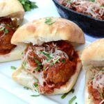 Do your weeknights leave you little room to prepare a cooked meal for your family? These Easy Meatball Parmesan Sliders are easy to make and take little time, plus they're absolutely delicious! #ad