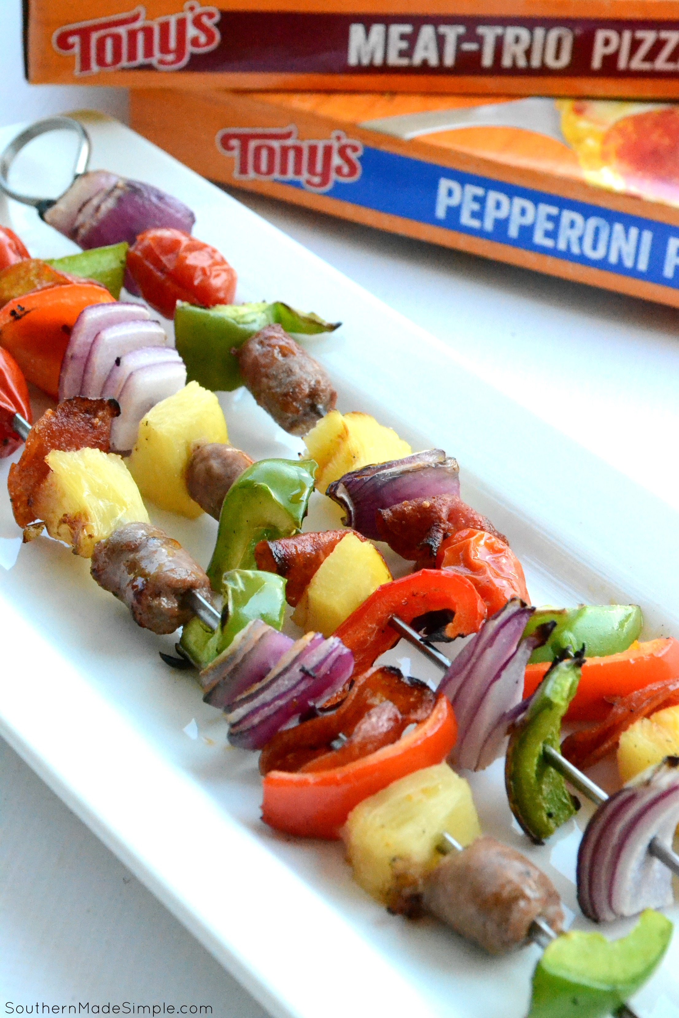 Gearing up for the big game? Grab a Tony's Pizza and pair it with these easy and delicious Pizza Kabobs and you've got a winning feast! #WinWithTonysPizza #Ad