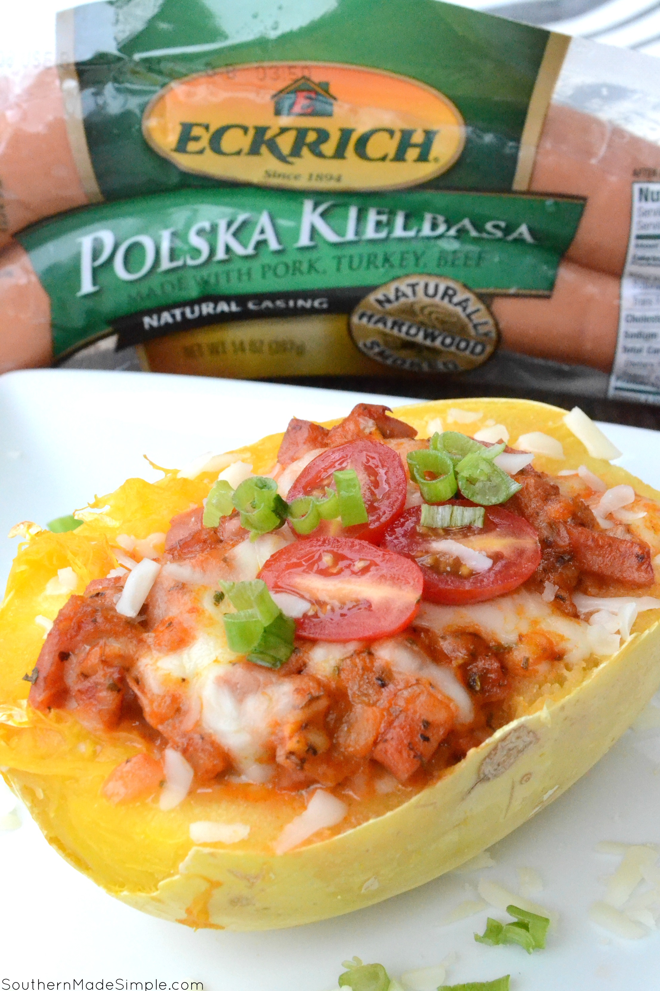 Ready to revamp your family weeknight meals? This Cheesy Smoked Sausage Stuffed Spaghetti Squash is a fun twist on classic spaghetti with a simple & healthier twist! #EverydayEckrich #ad
