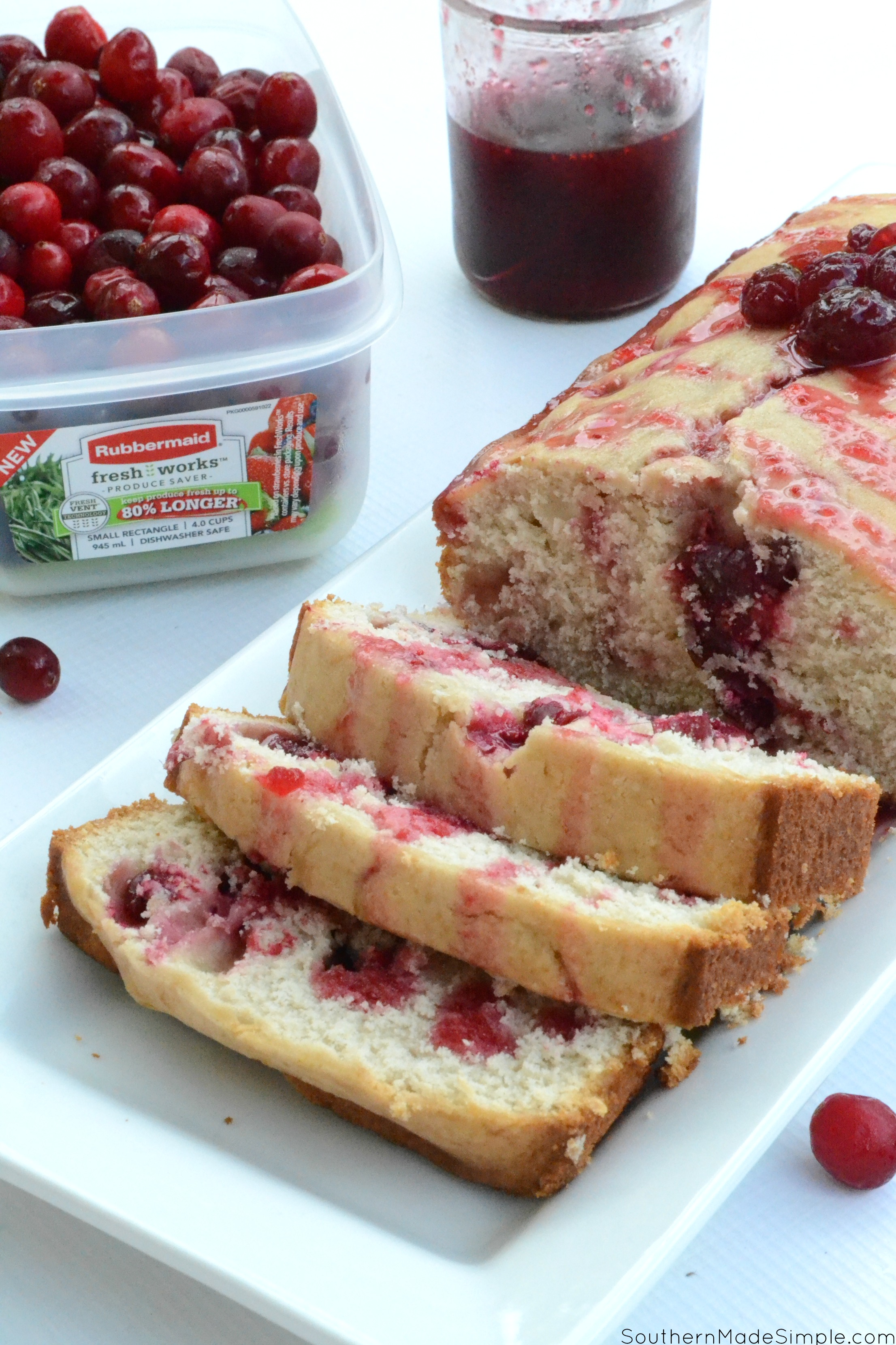 Each slice of this dreamy dense pound cake with sweet cranberries tucked inside will make you wish it was fall all year long! #FreshWorksFreshness #ad