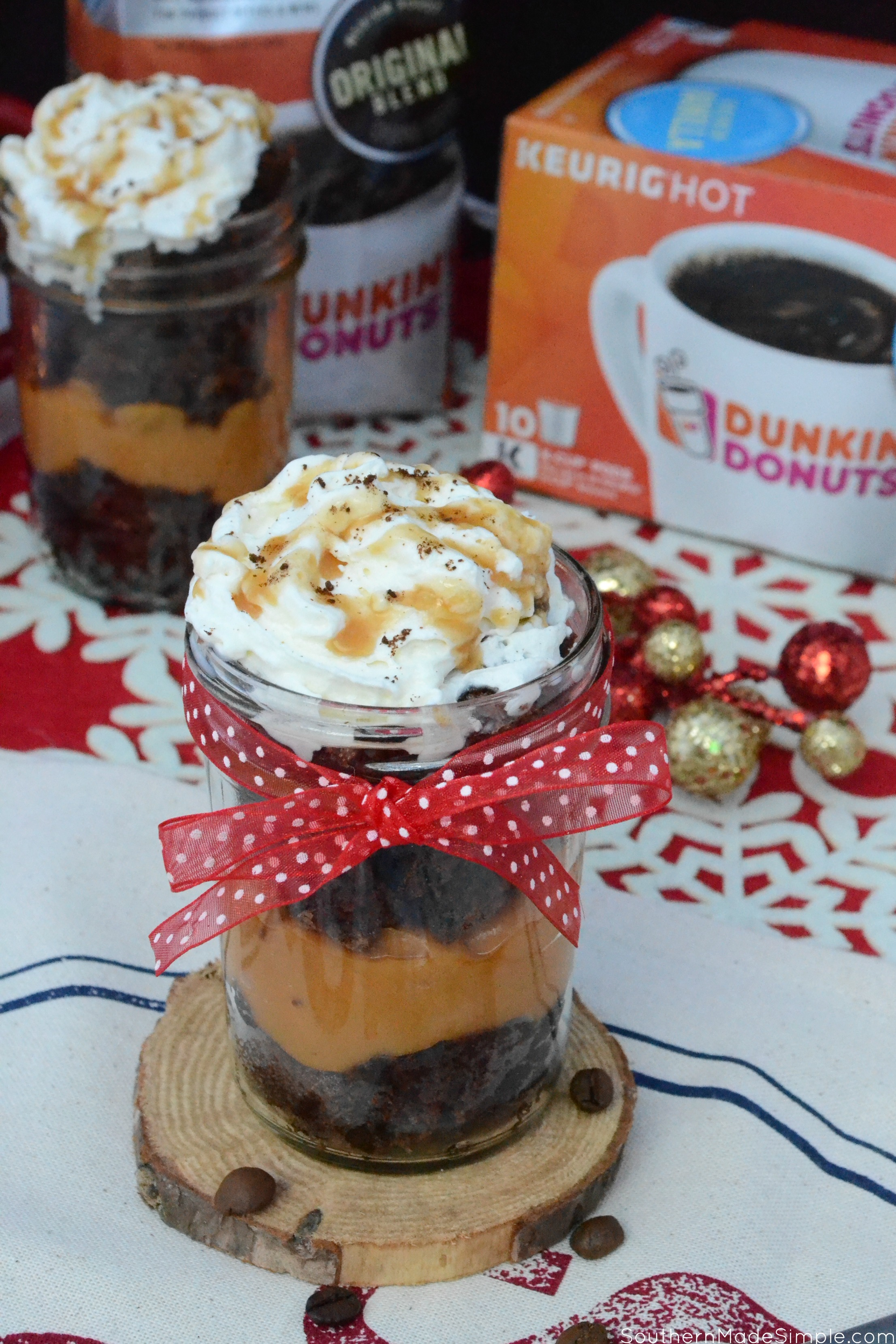Need a delicious pick-me-up to help you get through the busy holiday season? These coffee infused caramel brownie trifles are the perfect treat to satisfy your sweet tooth! #Ad #GrabHolidayHappiness