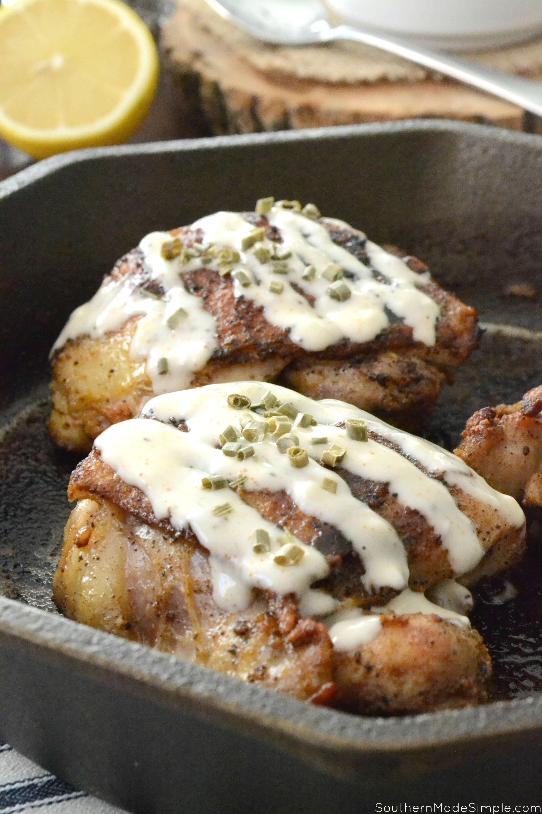 Cast Iron Skillet Cooking: Grilled Chicken Thighs with Alabama White BBQ Sauce #mysouthernkitchen #ad