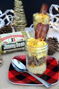Fixing a feast for friends and family during the holidays? Let them dig in to these delicious Mini Ultimate Breakfast Trifles made with cheese grits, scrambled eggs and scrambled Jimmy Dean Pork Sausage! #MadeWithLovePublix #ad