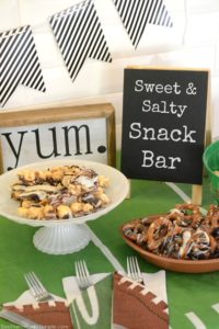 Amp up your game day celebrations with the ultimate sweet & salty snack bar featuring the Funky Chunky Crowd Pleaser Tin! #FunkyChunkyParty #IC #ad