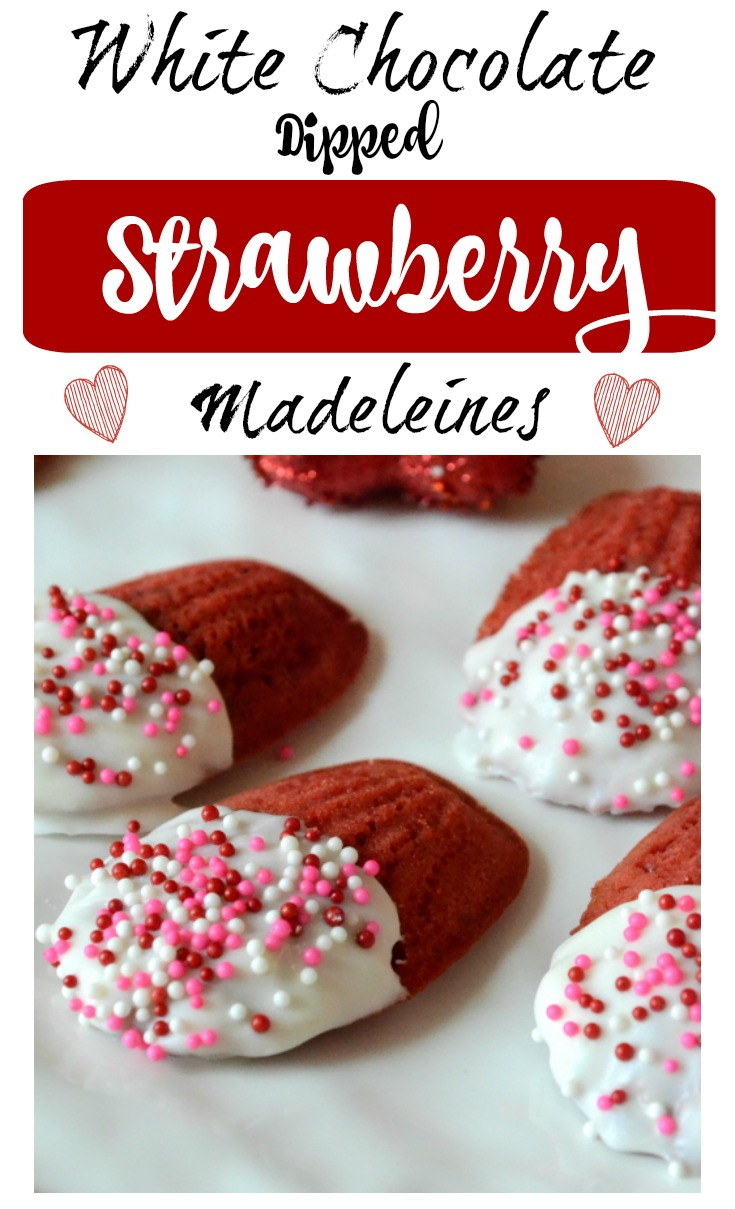 Give your loved ones an extra bite of sweetness with these delicious White Chocolate Dipped Strawberry Madeleines - made with REAL strawberries! #ValentinesDay