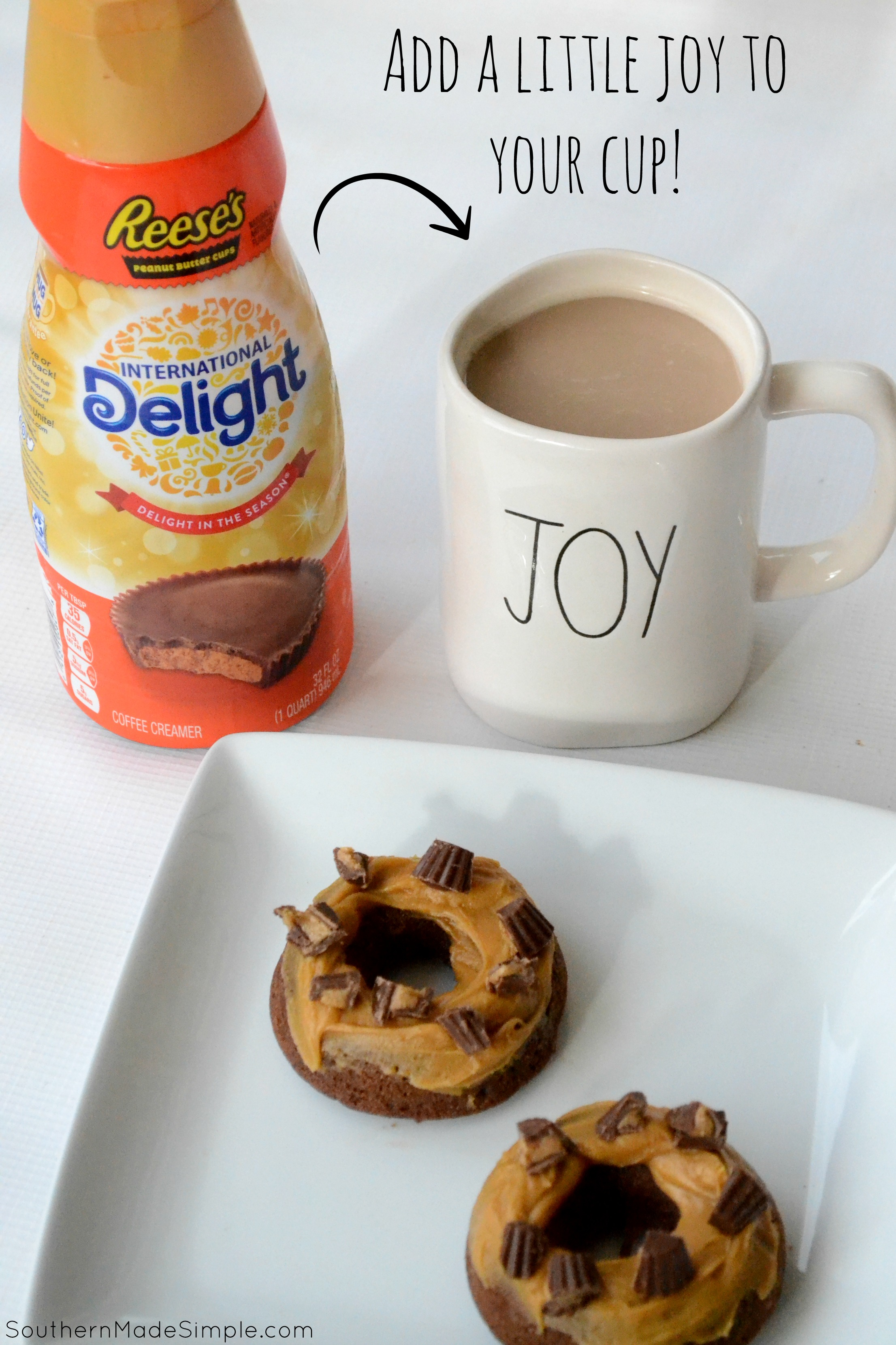 These Glazed Chocolate Peanut Butter Cup Doughnuts are a decadent treat that are easy to make, and they're perfect paired with your morning cup of coffee! #ad #DelightfulMoments #SplashOfDelight