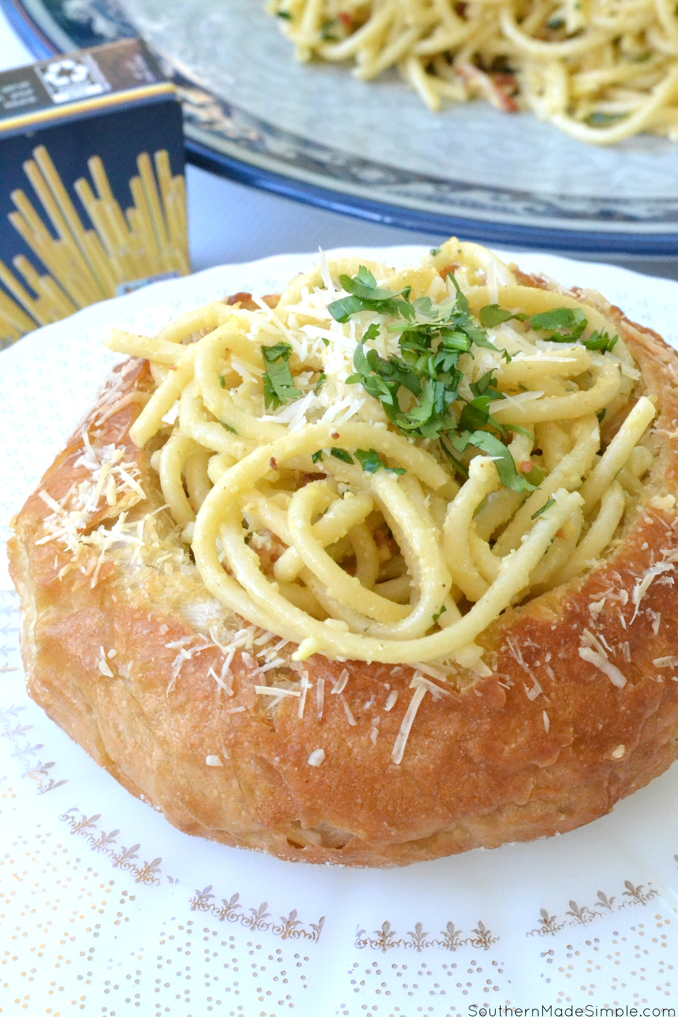 Bucatini Carbonara Stuffed Garlic Crusted Bread Bowls
