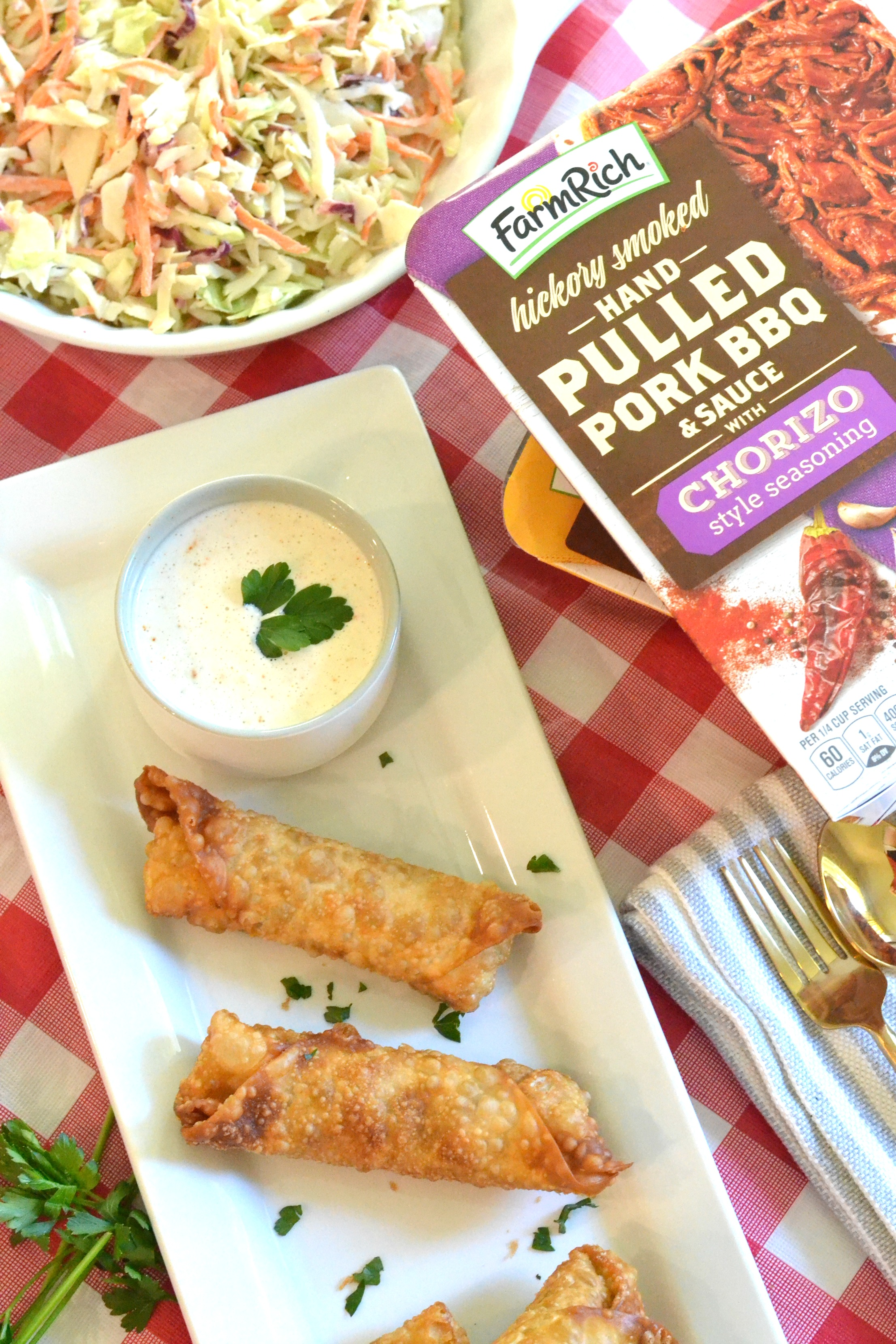 BBQ Egg Rolls with Alabama White Sauce