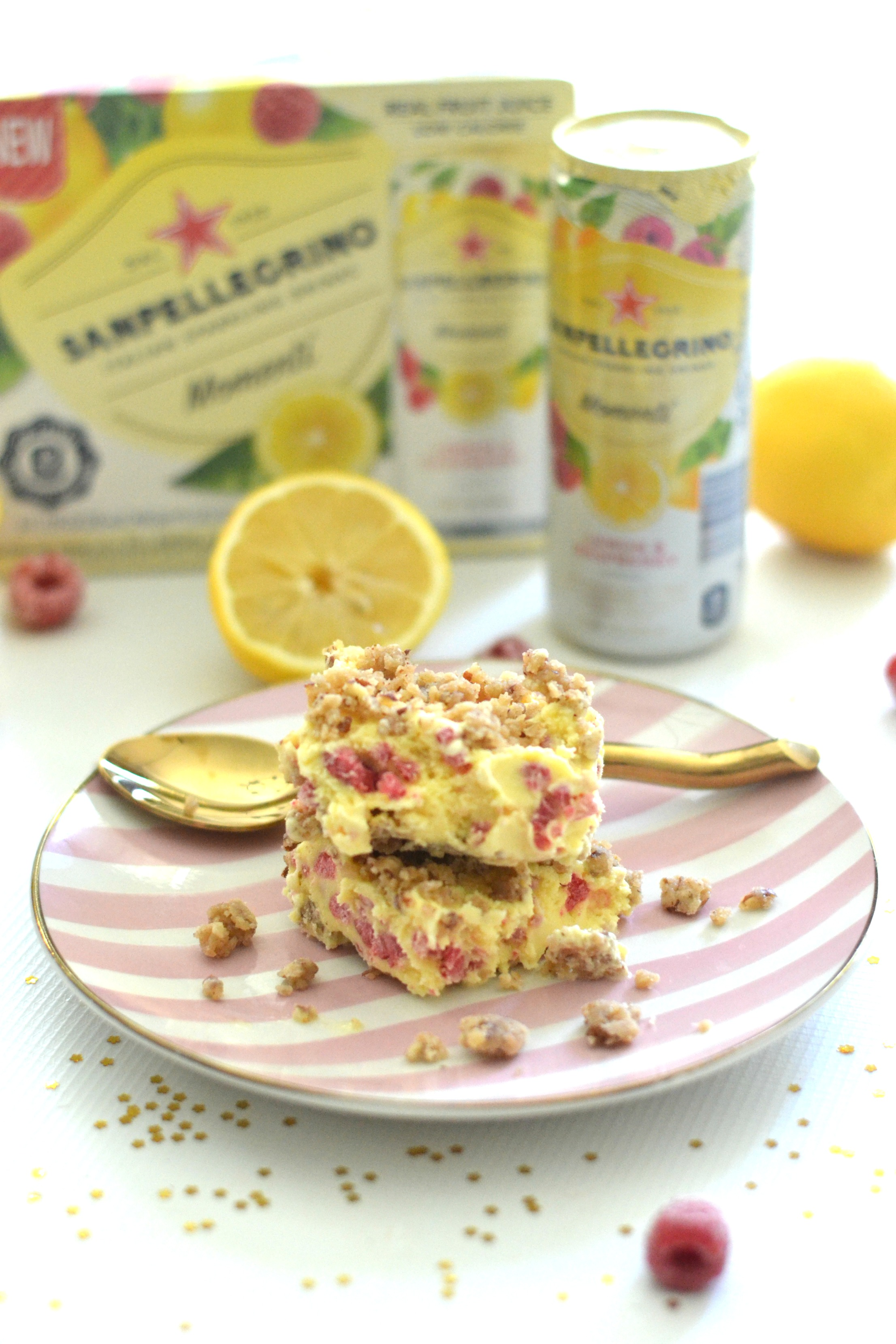 Lemon Raspberry Ice Cream Crumble Bars #MySanPelMomenti #TastefullyItalian