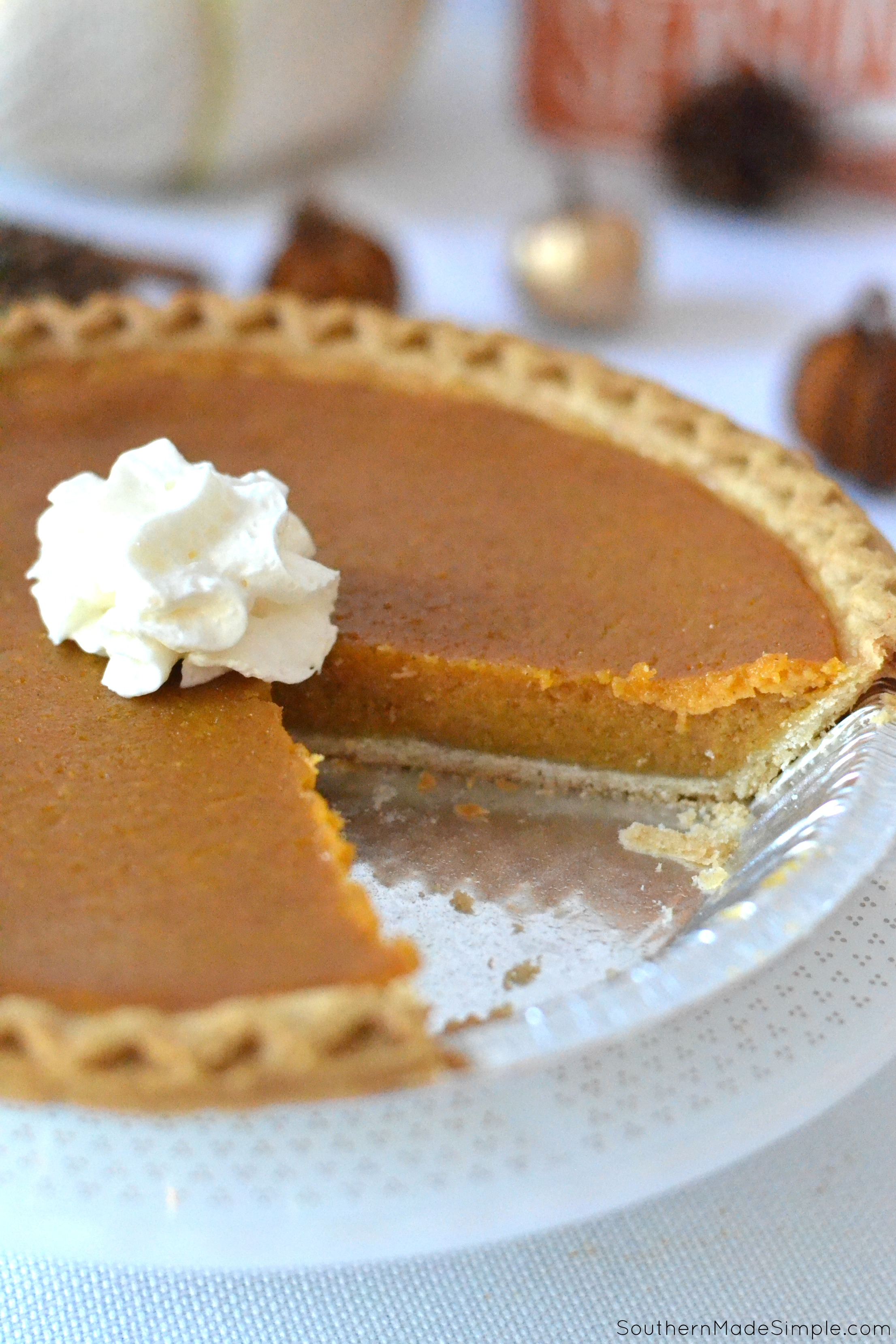 This Pumpkin Chess Pie ranks supreme on the Thanksgiving table, and it's perfectly creamy texture makes it extra delicious!