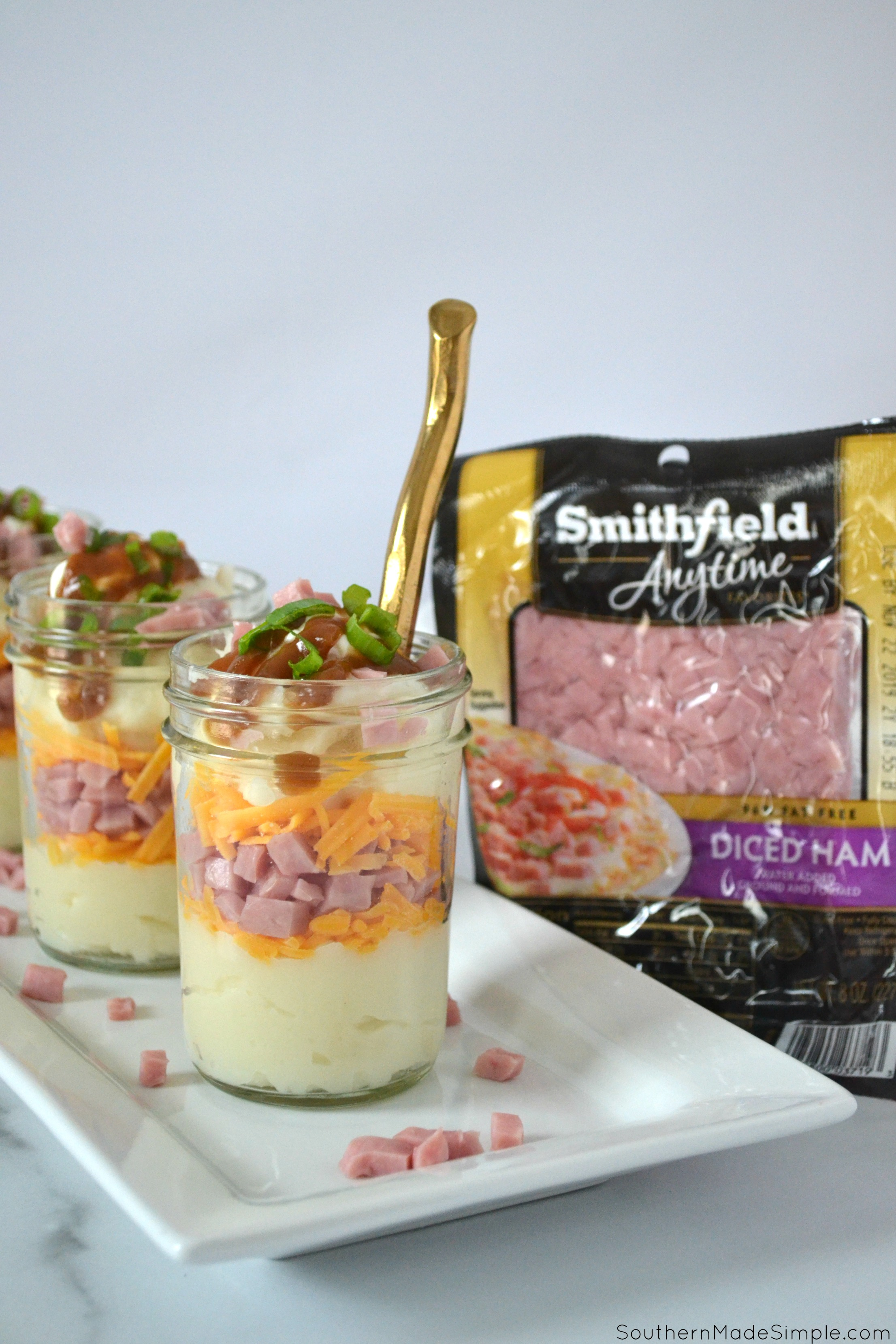 Cheesy Ham and Mashed Potato Trifles