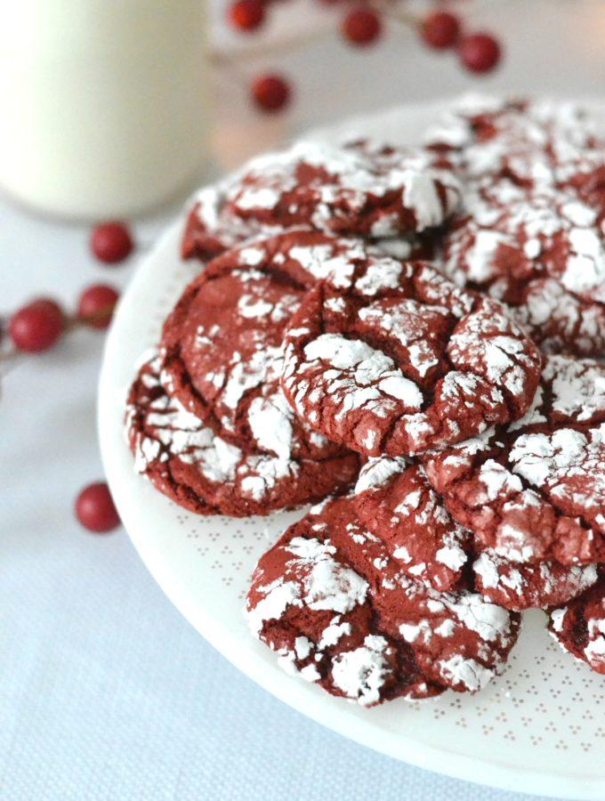 Red Velvet Christmas Crinkle Cookies