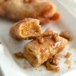 Sweet Potato Casserole Stuffed Eggrolls with Caramel Bourbon Pecan Praline Sauce