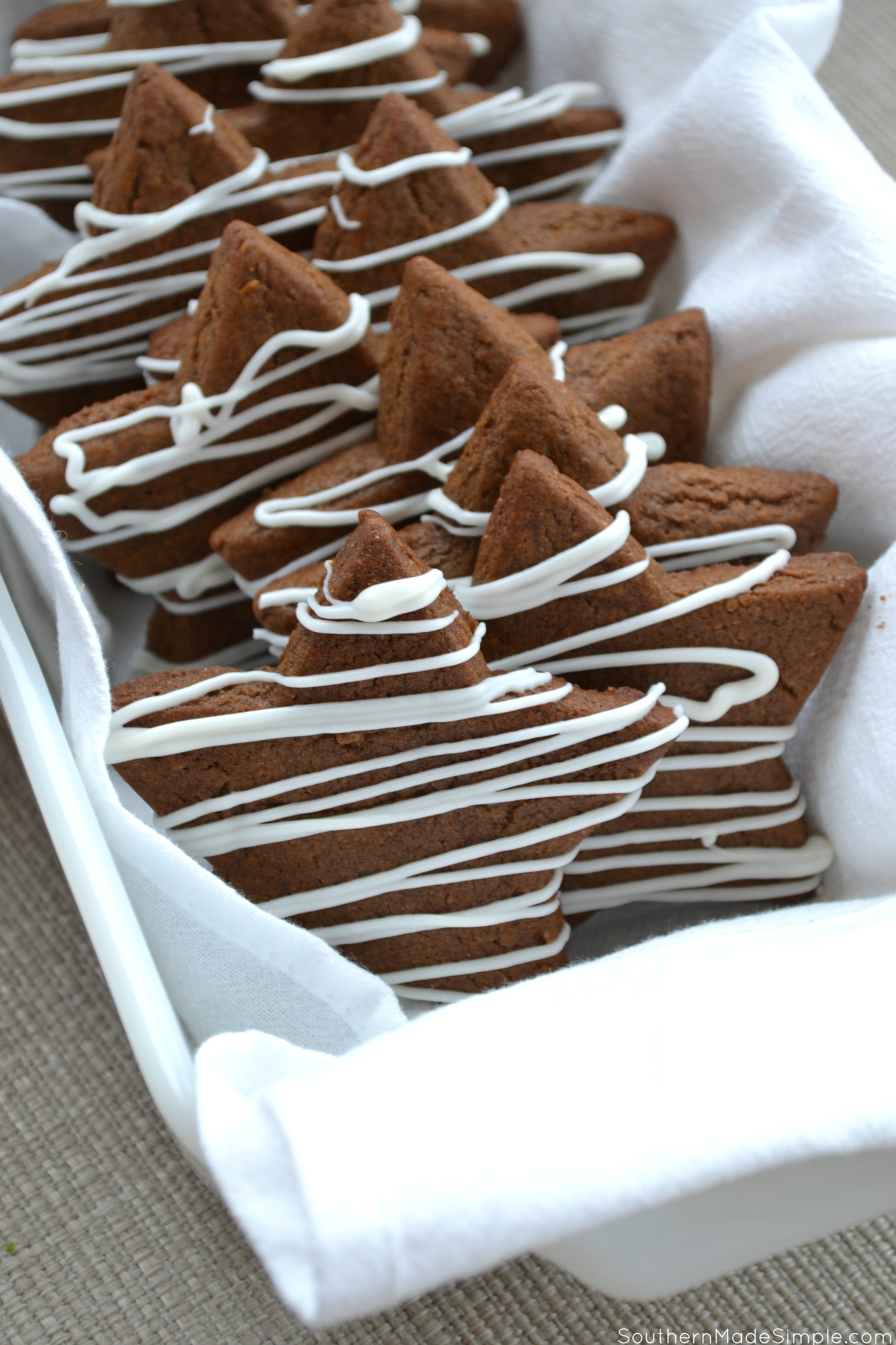 White Chocolate Drizzled Gingerbread Stars